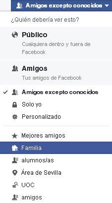 Lista de amigos en Facebook