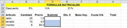 Para una formula matricial en primer lugar hay que seleccionar las celdas