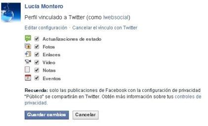 Acciones de Facebook enlazadas con Twitter