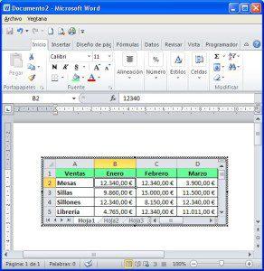 Resultado al copiar en Excel y pegar en Word como objeto Excel