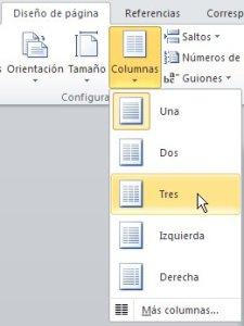 Opciones de columnas en Word