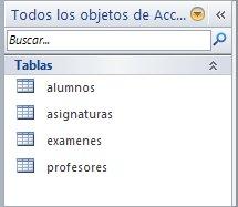 Tablas de la base de datos Colegio