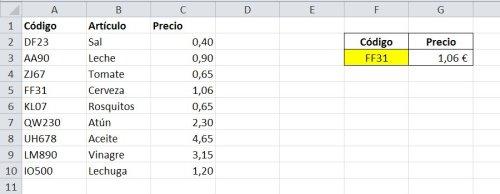 Ejemplo para búsqueda exacta en Excel con solución