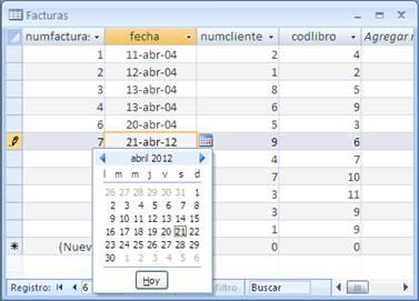 Propiedad de tabla Selector de fechas