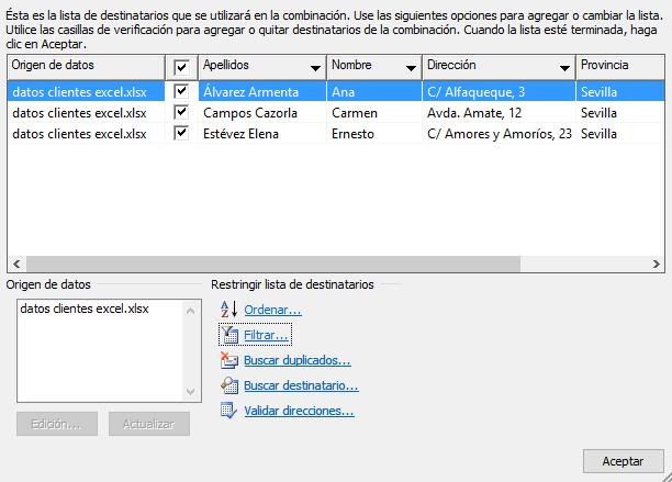 Lista de Excel filtrada para combinar correspondencia