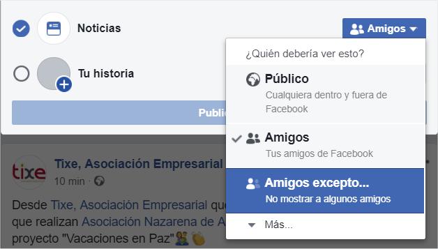 Cómo limitar el pública de tus posts en Facebook