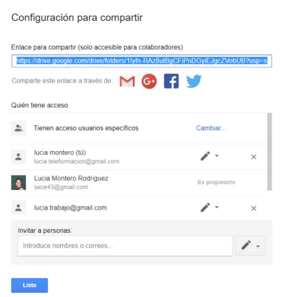 Configuración para compartir elementos en Google Drive