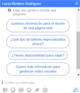 Preguntas frecuentes activadas para Messenger