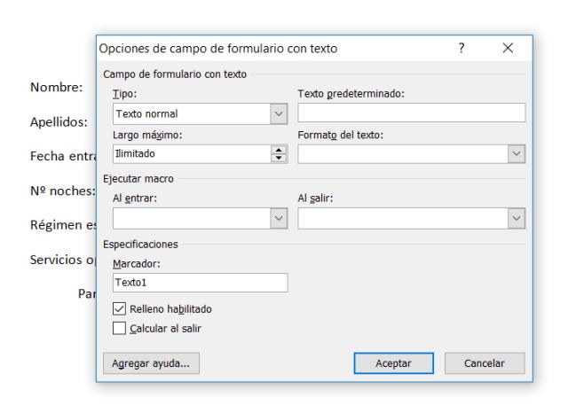 Opciones de campo de formulario con texto en Word