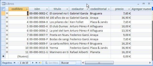 Tabla Libros actualizada mediante SQL