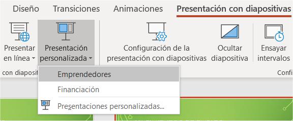 Presentaciones personalizadas disponibles en PowerPoint