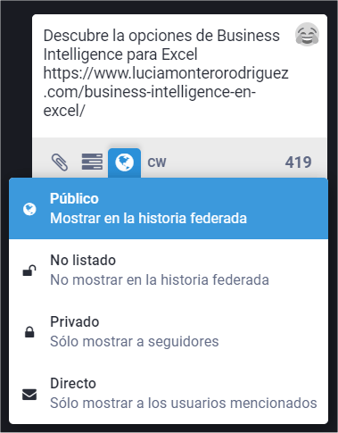 Privacidad para mensajes en Mastodon