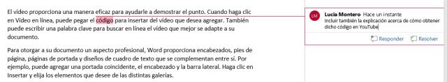 Inserción de comentario en un documento de Word