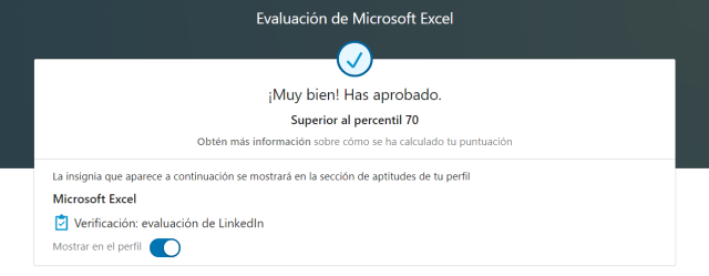 Test de aptitud de Excel en LinkedIn superado