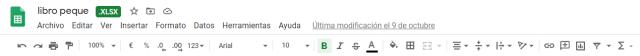 Menú y barrra de tareas de Google Sheets