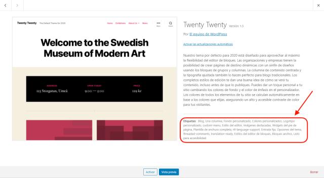 Característica del tema por defecto de WordPress twenty twenty