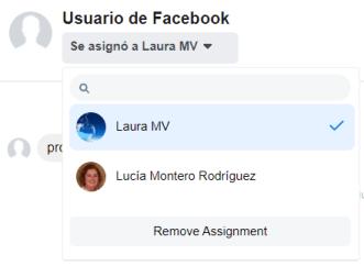 Asignacion de conversaciones a otros usuarios de Facebook