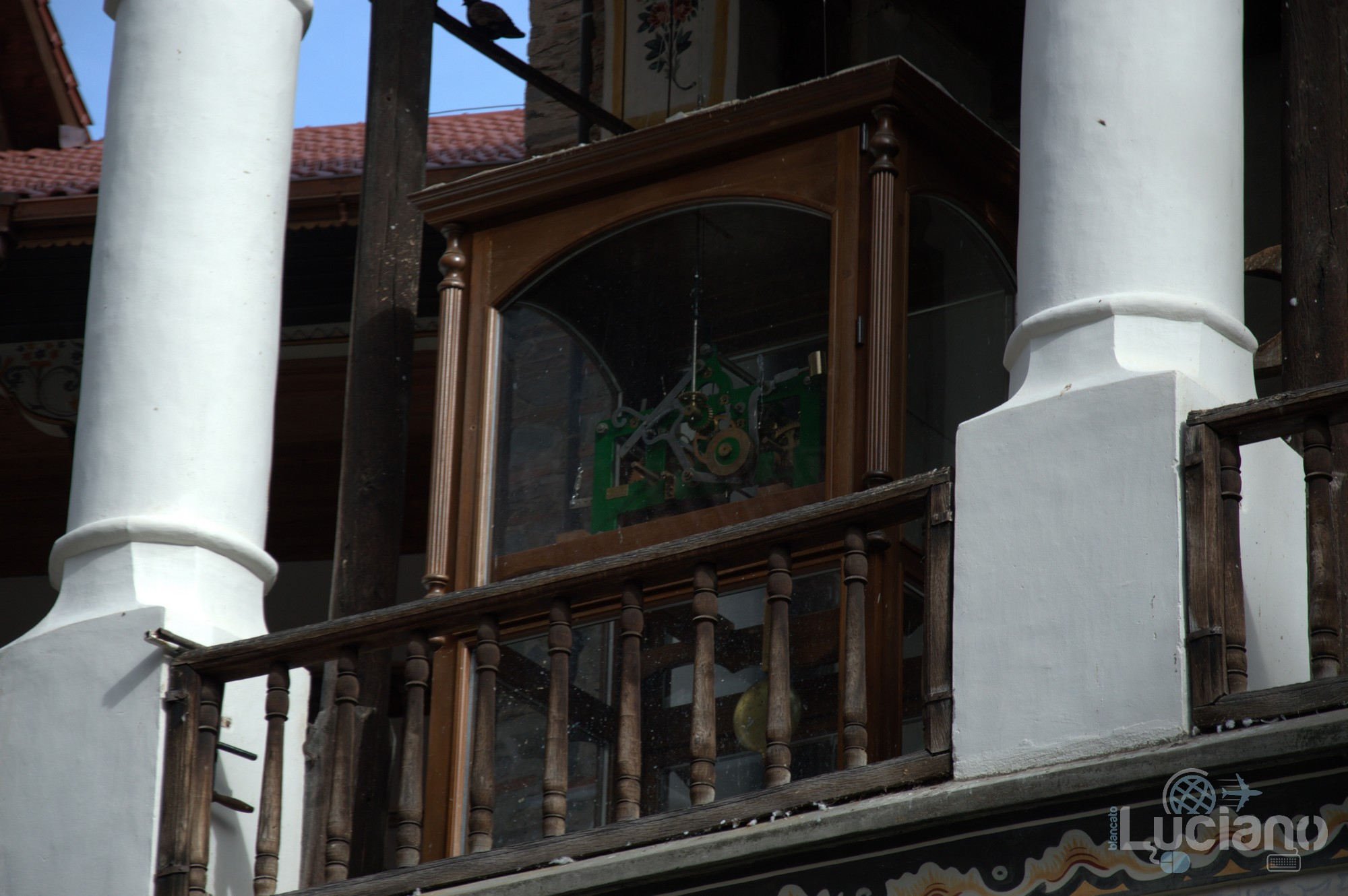Vista interna - orologio campanile - Monastero di Rila, Рилски Манастир, Rilski Manastir - Sofia - Bulgaria