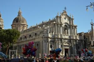 Vista della Cattedrale di Sant'Agata e delle Terme Achilliane, durante i festeggiamenti per Sant'Agata 2019 - Catania (CT)