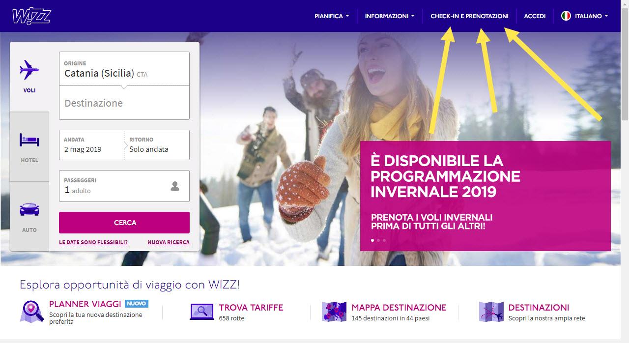 Sito Web Wizz Air - Come fare il check-in on line. Step 1