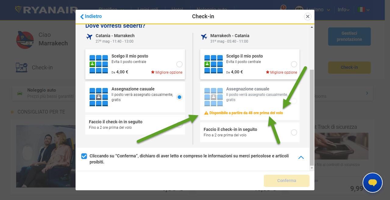 Home page di Ryanair; Riepilogo check-in! avendo un volo di ritorno, il sistema ci fa vedere che non è possibile fare il check-in del ritorno in modalità gratuita! in quanto lo stesso parte da 48 ore prima
