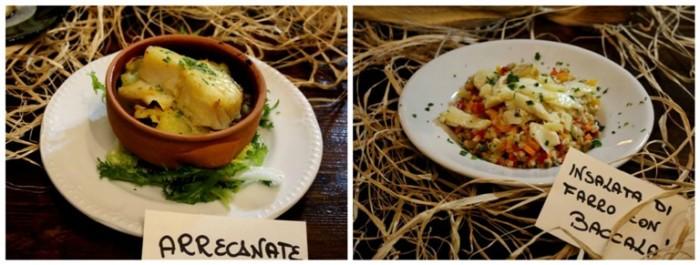 Osteria del Baccalà a Frosinone, baccalà in versione arrecanato al tegamino – con insalata di farro