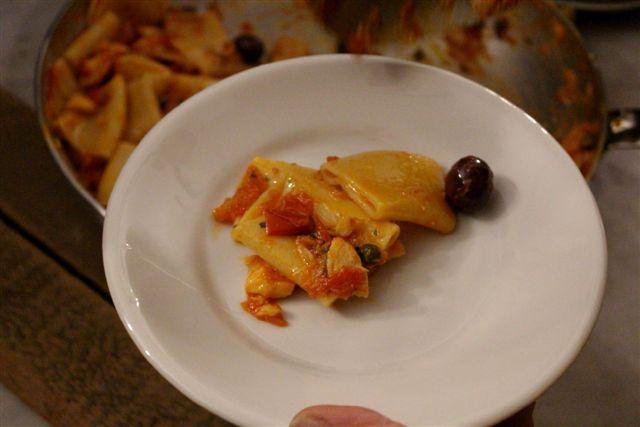 Osteria del Baccalà a Frosinone,  pasta di Gragnano con baccalà, piennolo e olive