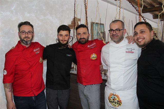 Marco Quintili, Lorenzo Amati con Angelo Pezzella di Rossopomodoro e due allievi
