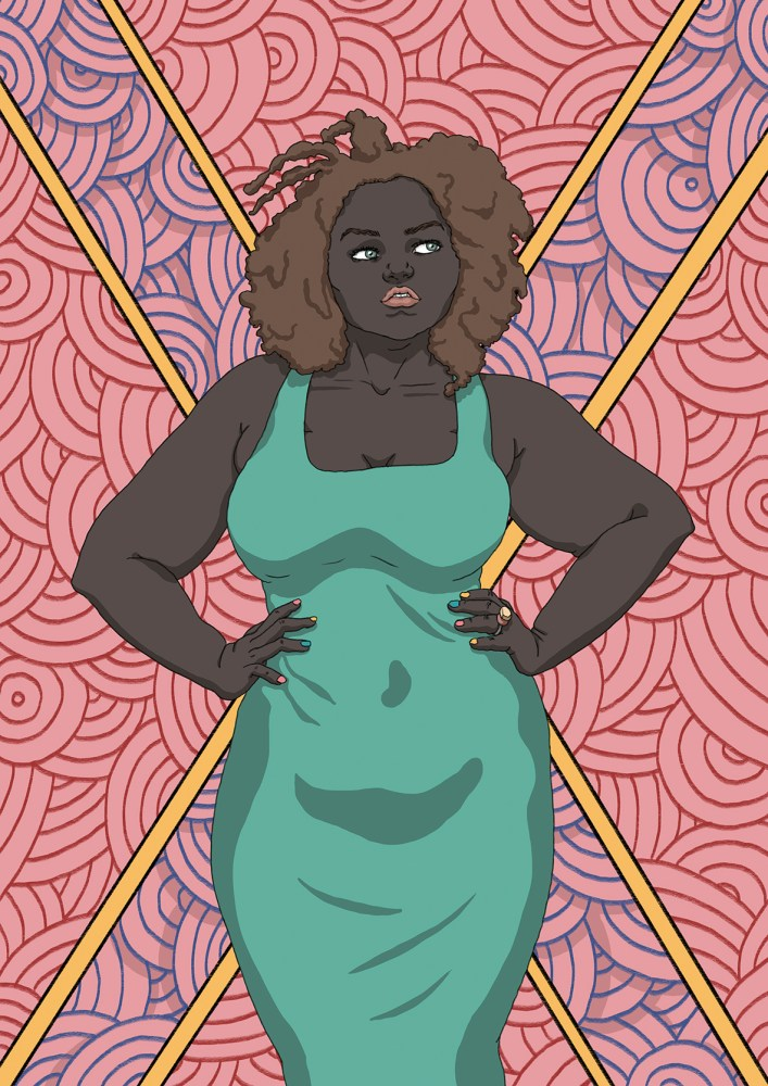 Black power illustration of a dark skin woman with circle pattern behind her and a blade design on pink. She is also self confident about her weight and body shape.