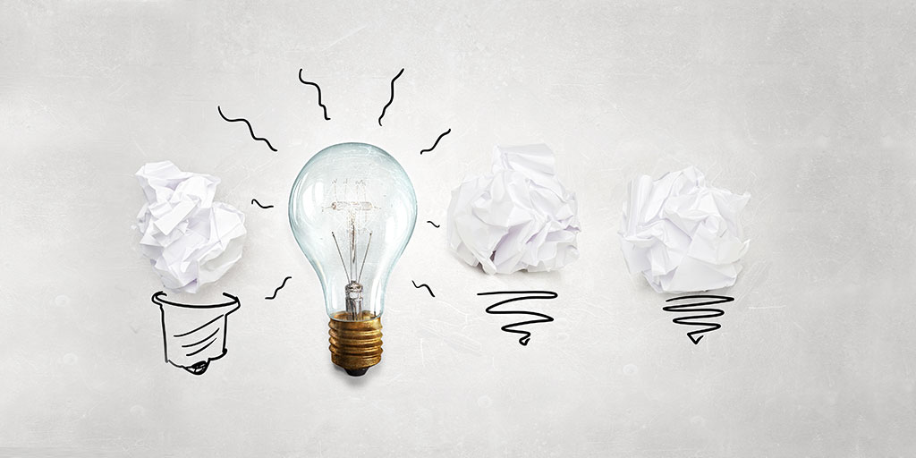 lightbulbs and crumpled paper