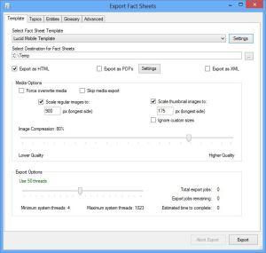 Fact Sheet Fusion export dialog