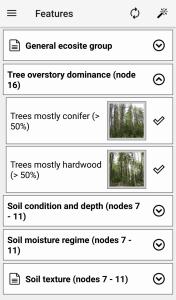 Ecosites of Ontario feature selection screen