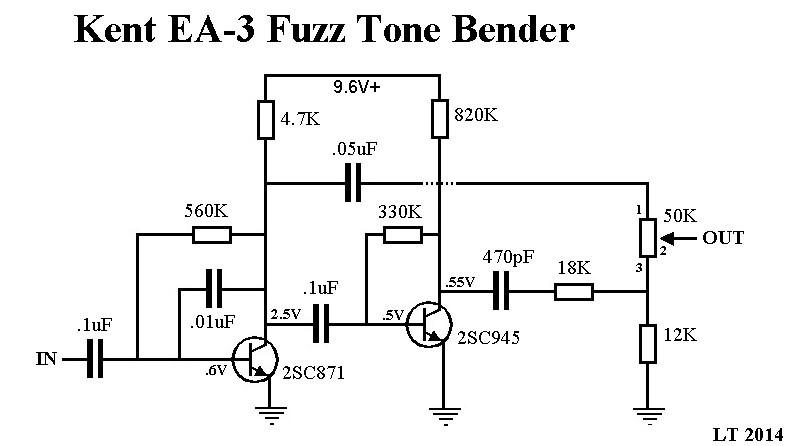 KENT EA-3 FUZZ TONE BENDER ~ Vintage fuzz pics & schematic
