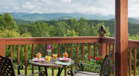 Deck off on of the rooms with Fruit and Orange Juice with a view of the Mountains