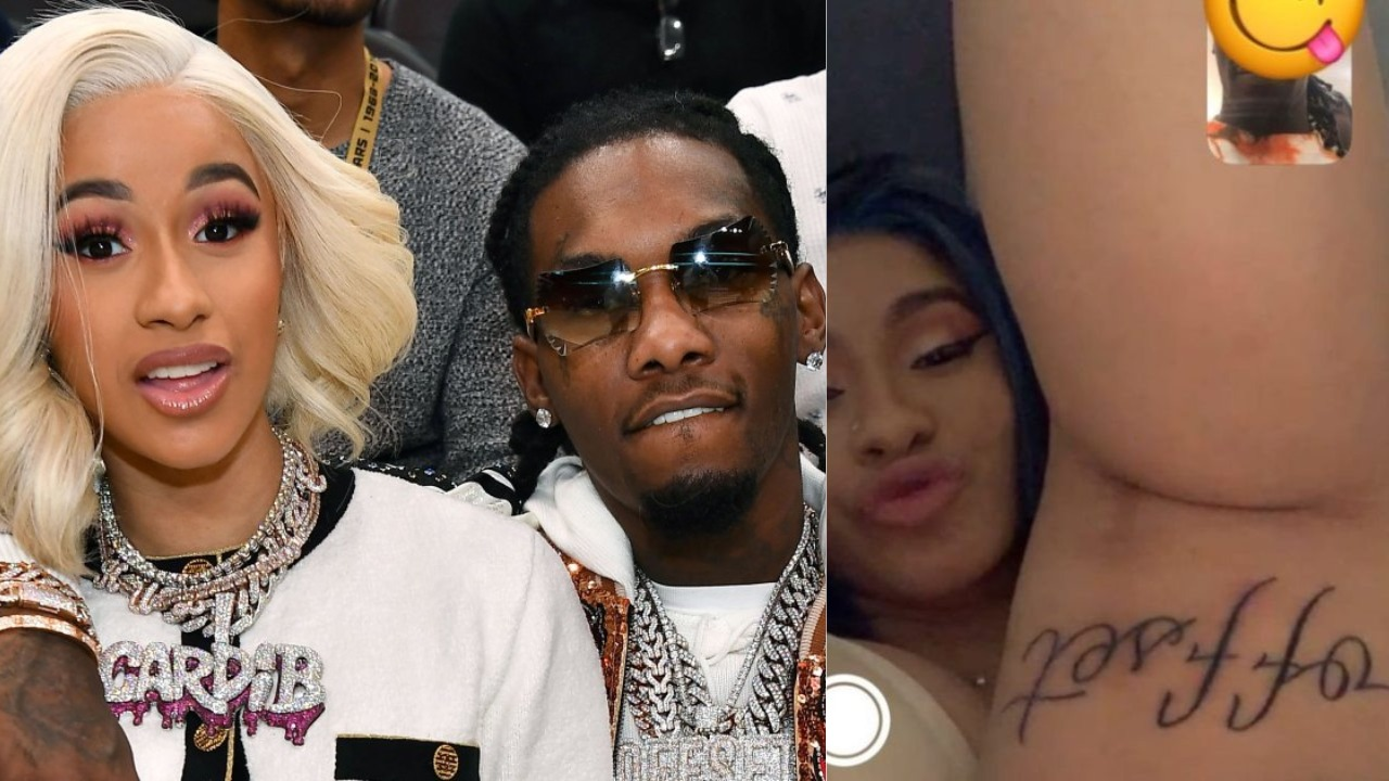 Cardi B Tattoos Offset's Name On Her Leg