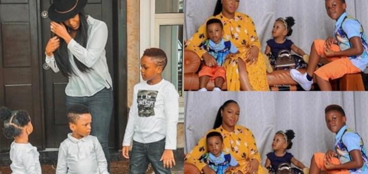 'My Greatest Achievements' - Anita Okoye shares Adorable Photo with their three Children