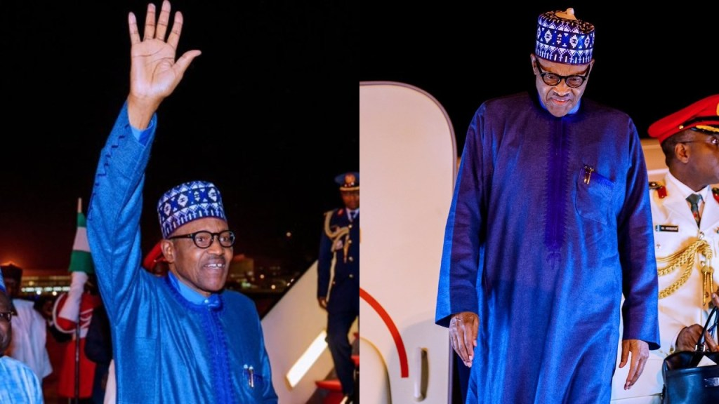 President Buhari returns to Nigeria from London where he participated in the UK-Africa Investment Summit