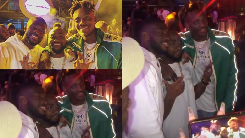 Tammy Abraham & Fikayo Tomori pictured partying with Davido during the After Party of the singer's Brother's Wedding in Dubai