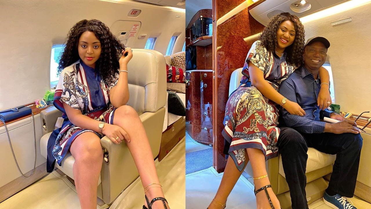 Image result for Regina Daniels and her husband Ned Nwoko all smiles as they jet off together (photos)