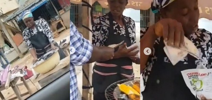 Pastor Adeboye's son, Leke gifts corn seller money after watching her pray over her charcoal pot (Video)
