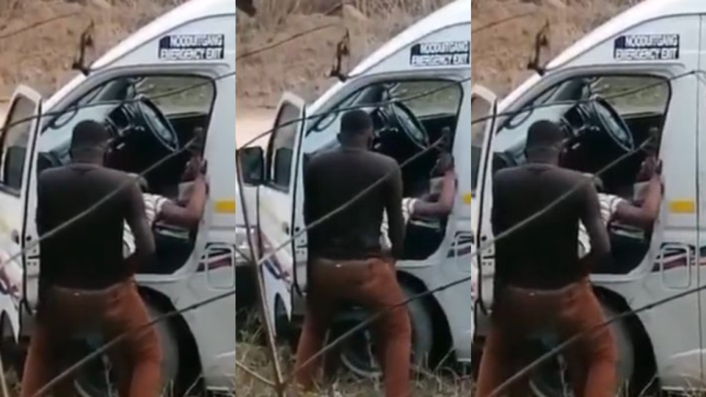 Taxi driver nabbed while having s3x with lady, by the road side (Video)