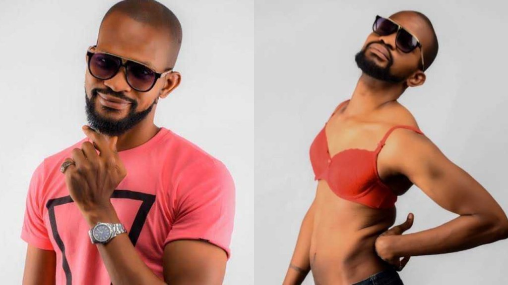 Actor Uche Maduagwu shares photo of himself in a bra days after coming out as a gay man