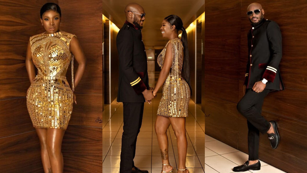 Adorable moment 2Face Idibia held his wife, Annie's shoes for her as they left Headies award ceremony (Video)