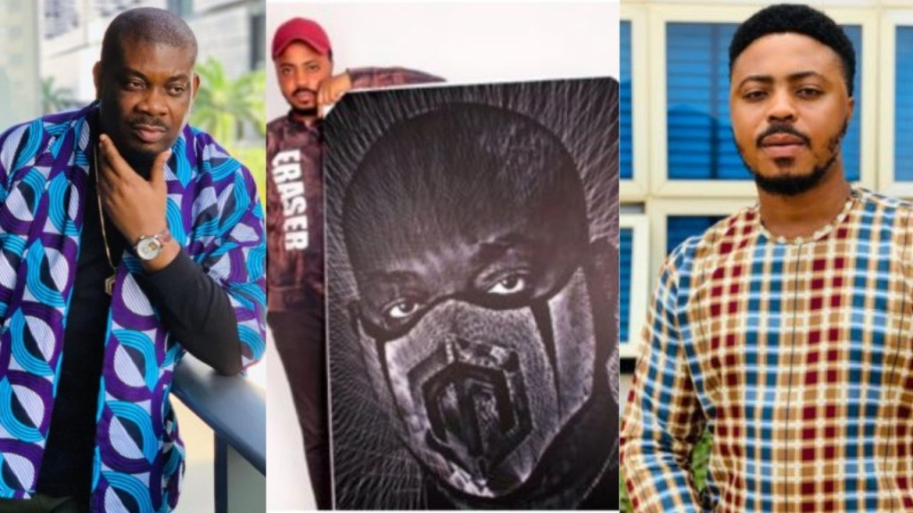 I want to meet him & touch his garment - Nigerian artist says as he paints a beautiful portrait of Don Jazzy