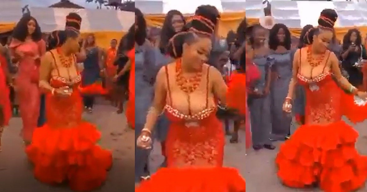 """""""You can't outshine me at my wedding!"""" Bride bares massive cleavage in revealing outfit at her wedding ceremony (Video)"""