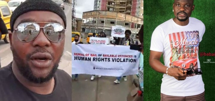 Actor, Yomi Fabiyi leads mega protest to demand the release of Baba Ijesha on bail (Video)