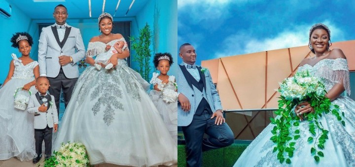 Actress Chacha Eke Faani and husband celebrate their 8th wedding anniversary with wedding-themed family photos