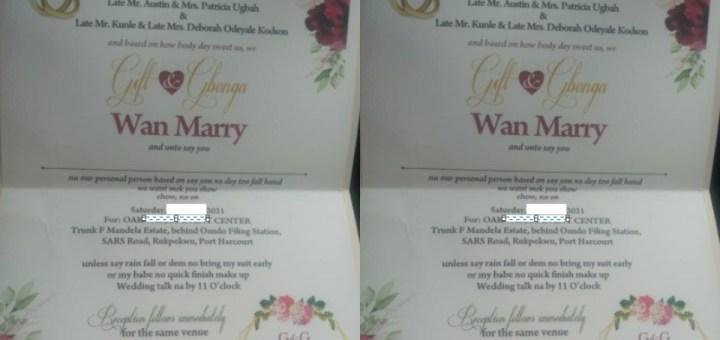 Couple's Wedding Invitation written in Pidgin English goes Viral