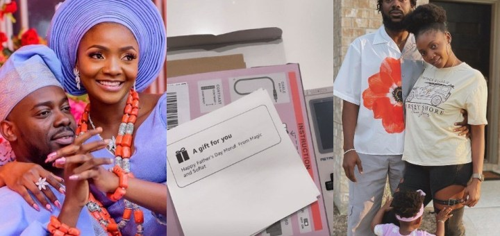 """""""In this life marry well"""" - Adekunle Gold writes as his wife Simi gifts him a vintage gameboy for father's day"""