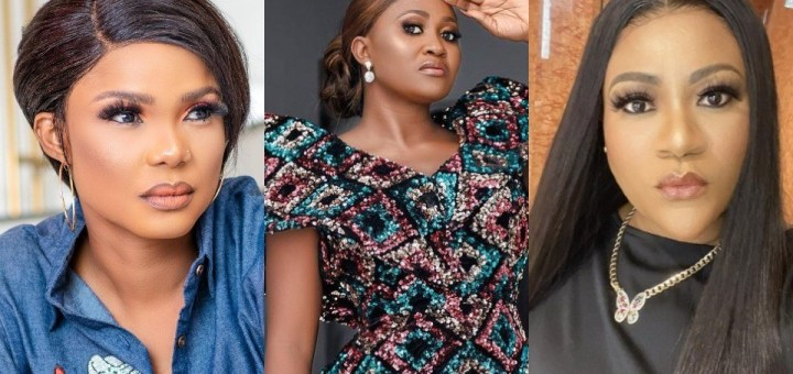 """TAMPAN Ban: """"Where there are allegations of rape or child molestation, there is no such thing as overreaction"""" – Mary Remmy Njoku stands with Iyabo Ojo and Nkechi Blessing"""